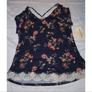 Navy Floral with Lace Top